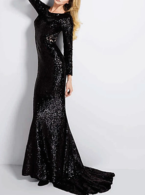 cheap Evening Dresses-Mermaid / Trumpet Sparkle Black Party Wear Formal Evening Dress Jewel Neck Long Sleeve Sweep / Brush Train Polyester with Sequin 2020