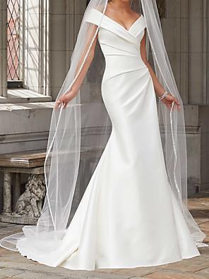 baratos Vestidos de Casamento-Sereia Vestidos de noiva Ombro a Ombro Cauda Escova Poliéster Alças Rústico Tamanhos Grandes com Franzido Pregueado 2020