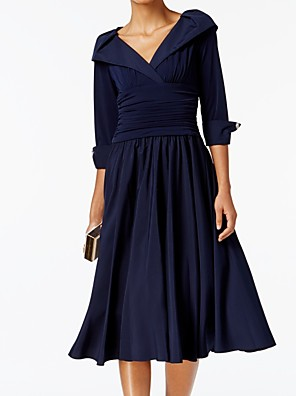cheap Evening Dresses-A-Line Mother of the Bride Dress Elegant V Neck Tea Length Polyester Half Sleeve with Buttons Ruching 2020
