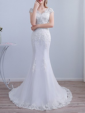 cheap Wedding Dresses-Mermaid / Trumpet Wedding Dresses V Neck Sweep / Brush Train Lace Short Sleeve Beach with Lace Insert Embroidery 2020