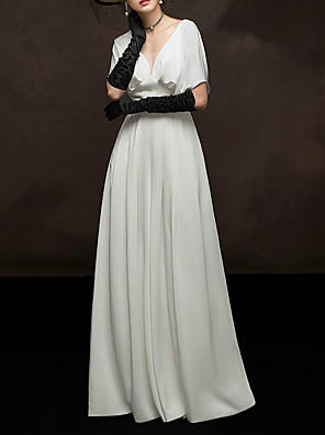 cheap Evening Dresses-A-Line Elegant White Engagement Formal Evening Dress V Neck Short Sleeve Floor Length Satin with Pleats 2020
