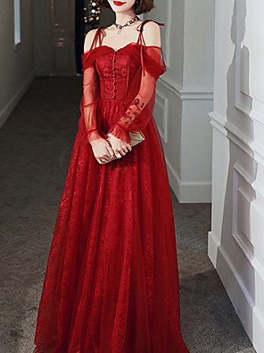 cheap Prom Dresses-A-Line Elegant Red Party Wear Prom Dress Off Shoulder Long Sleeve Floor Length Tulle with Buttons 2020 / Illusion Sleeve