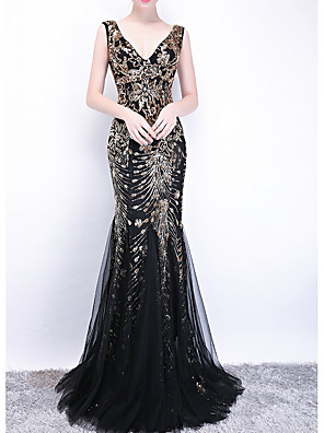 cheap Evening Dresses-Mermaid / Trumpet Sexy Engagement Formal Evening Dress V Neck Sleeveless Sweep / Brush Train Polyester with Sequin Appliques 2020