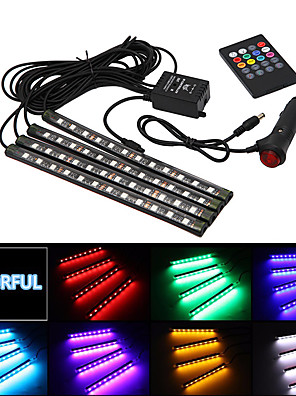 cheap Prom Dresses-Car styling Wireless Music Voice remote Control Interior Floor Foot Decoration Light Cigarette LED Atmosphere RGB Neon LampStrip 12v four in one