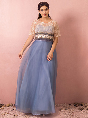 cheap Prom Dresses-A-Line Plus Size Blue Wedding Guest Prom Dress Jewel Neck Short Sleeve Floor Length Lace Satin Tulle with Beading Appliques 2020 / Illusion Sleeve