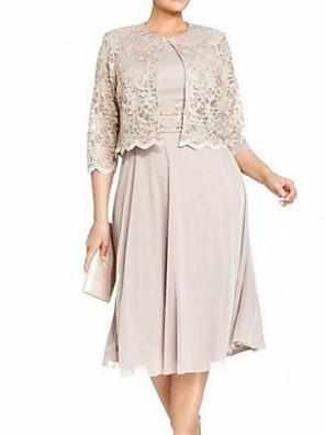 cheap Romantic Lace Dresses-Sheath / Column Mother of the Bride Dress Elegant Jewel Neck Tea Length Lace Polyester 3/4 Length Sleeve with Lace 2020