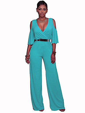 cheap Party Dresses-Women's Street chic / Sophisticated Yellow Fuchsia Blue Jumpsuit Onesie, Solid Colored S M L