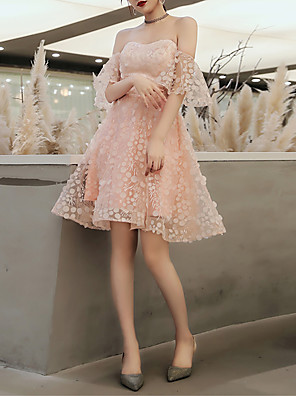 cheap Special Occasion Dresses-A-Line Sexy Cocktail Party Prom Dress Strapless Short Sleeve Knee Length Lace Tulle with Pattern / Print Appliques 2020
