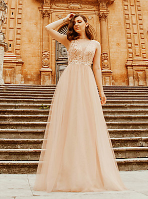 cheap Bridesmaid Dresses-A-Line Plunging Neck Floor Length Polyester / Tulle Bridesmaid Dress with Sequin