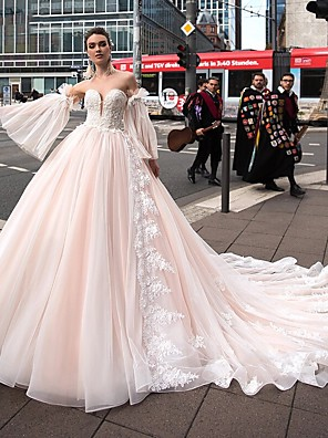 cheap Prom Dresses-Ball Gown Wedding Dresses Off Shoulder Court Train Lace Tulle Strapless Sexy Plus Size with Lace Appliques 2020