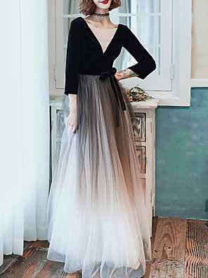 cheap Prom Dresses-A-Line Sexy Black Wedding Guest Formal Evening Dress Illusion Neck Half Sleeve Floor Length Tulle with Sash / Ribbon 2020