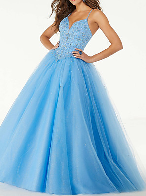 cheap Wedding Dresses-Ball Gown Elegant Sexy Prom Dress V Neck Sleeveless Floor Length Tulle with Pleats Sequin 2020