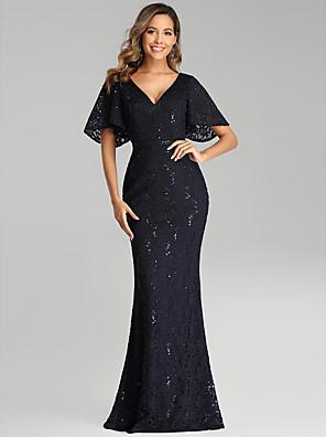 cheap Evening Dresses-Mermaid / Trumpet Blue Black Wedding Guest Formal Evening Dress V Neck Short Sleeve Floor Length Lace with Sequin 2020