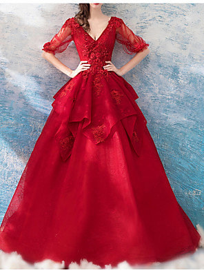 cheap Evening Dresses-A-Line Wedding Dresses V Neck Sweep / Brush Train Chiffon Tulle Half Sleeve Formal Plus Size Red with Draping Lace Insert Appliques 2020