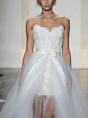 cheap Evening Dresses-Sheath / Column Wedding Dresses Sweetheart Neckline Short / Mini Lace Sleeveless Formal Detachable with Bow(s) Cascading Ruffles 2020