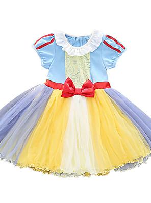 cheap Girls' Dresses-Kids Girls' Active Cute Patchwork Cartoon Bow Mesh Short Sleeve Sleeveless Knee-length Dress Purple