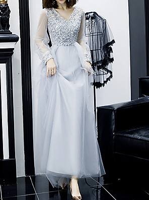 cheap Prom Dresses-A-Line Sparkle Grey Prom Formal Evening Dress V Neck Long Sleeve Floor Length Sequined Polyester with Sequin 2020