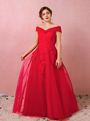 cheap Prom Dresses-A-Line Plus Size Red Engagement Prom Dress Off Shoulder Short Sleeve Floor Length Lace Satin Tulle with Appliques 2020