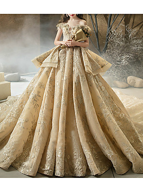 cheap Evening Dresses-Ball Gown Wedding Dresses Off Shoulder Watteau Train Lace Short Sleeve Formal Wedding Dress in Color with Lace Insert 2020