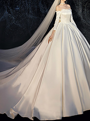 cheap Cocktail Dresses-Ball Gown Wedding Dresses Off Shoulder Watteau Train Satin 3/4 Length Sleeve Formal Simple Plus Size with 2020