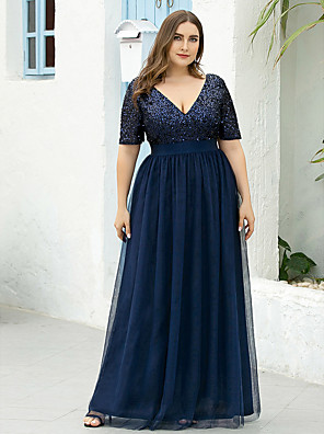 cheap Mother of the Bride Dresses-A-Line Mother of the Bride Dress Plus Size Sparkle & Shine V Neck Floor Length Tulle Sequined Short Sleeve with Sequin 2020