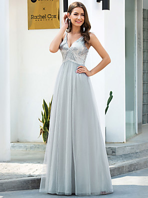 cheap Bridesmaid Dresses-A-Line Plunging Neck Floor Length Tulle Bridesmaid Dress with Sequin / Sparkle & Shine