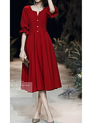 cheap Homecoming Dresses-A-Line Minimalist Red Homecoming Cocktail Party Dress V Neck Half Sleeve Knee Length Spandex with Buttons 2020