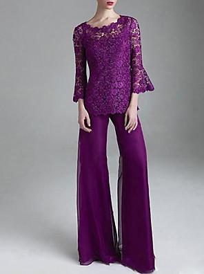 cheap Evening Dresses-Pantsuit / Jumpsuit Mother of the Bride Dress Elegant Jewel Neck Floor Length Lace Tulle 3/4 Length Sleeve with Appliques 2020