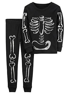 cheap Girls' Dresses-Kids Toddler Boys' Active Boho Daily Daily Wear Geometric Print Long Sleeve Clothing Set Black