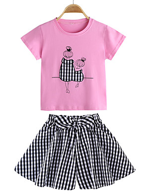 cheap Girls' Dresses-Kids Girls' Basic Chinoiserie School Daily Wear Check Cartoon Bow Short Sleeve Regular Clothing Set Blushing Pink