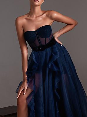 cheap Evening Dresses-A-Line Sexy Engagement Formal Evening Dress Sweetheart Neckline Sleeveless Court Train Tulle with Pleats Ruffles Split 2020