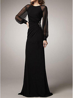 cheap Bridesmaid Dresses-Sheath / Column Elegant Black Wedding Guest Formal Evening Dress Jewel Neck Long Sleeve Floor Length Polyester with Ruched Beading 2020