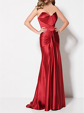cheap Prom Dresses-Mermaid / Trumpet Sexy Engagement Formal Evening Dress Sweetheart Neckline Sleeveless Sweep / Brush Train Stretch Satin with Draping 2020