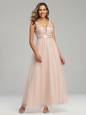 cheap Prom Dresses-A-Line Sparkle Pink Wedding Guest Prom Dress V Neck Sleeveless Floor Length Chiffon Tulle with Sequin 2020