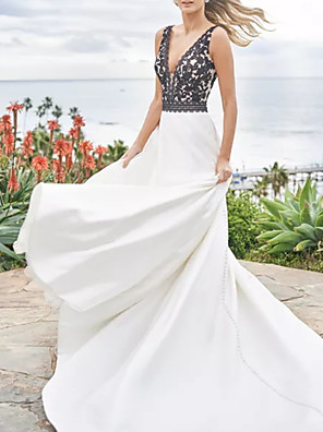 cheap Bridesmaid Dresses-A-Line Wedding Dresses V Neck Sweep / Brush Train Satin Sleeveless Beach Plus Size Black with Appliques 2020
