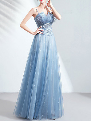 cheap Prom Dresses-A-Line V Neck Floor Length Tulle Bridesmaid Dress with Appliques