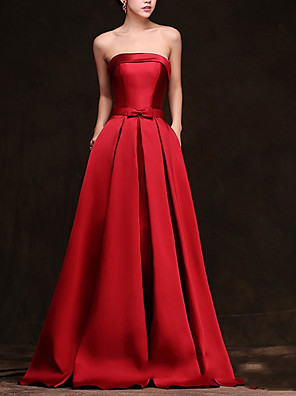 cheap Evening Dresses-A-Line Wedding Dresses Strapless Floor Length Satin Sleeveless Formal Red with Bow(s) 2020