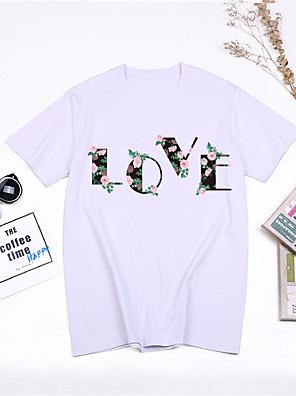 cheap Tankinis-Women's Cartoon Letter Print T-shirt - Cotton Basic Street chic Daily Sports White / Black / Blue / Red / Yellow / Blushing Pink / Light gray