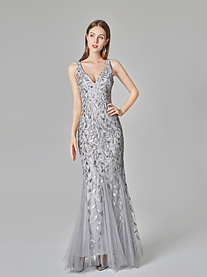 cheap Prom Dresses-Mermaid / Trumpet Sparkle Grey Party Wear Formal Evening Dress V Neck Sleeveless Floor Length Tulle Sequined with Sequin Appliques 2020