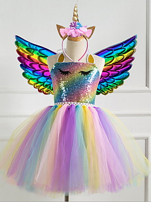 cheap Girls' Dresses-Kids Girls' Rainbow Dress Purple