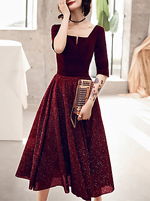 cheap Prom Dresses-A-Line Glittering Red Homecoming Cocktail Party Dress Scoop Neck Half Sleeve Tea Length Velvet with Sequin 2020