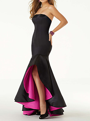 cheap Bridesmaid Dresses-Mermaid / Trumpet Sexy Black Homecoming Prom Dress Strapless Sleeveless Asymmetrical Satin with Pleats Ruffles 2020