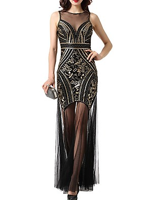 cheap Evening Dresses-Sheath / Column Roaring 20s Gatsby Engagement Formal Evening Dress Jewel Neck Sleeveless Floor Length Polyester with Sequin 2020