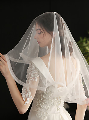 cheap Evening Dresses-Two-tier Sweet / Vintage Inspired Wedding Veil Shoulder Veils with Solid Tulle / Drop Veil