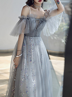 cheap Prom Dresses-A-Line Glittering Grey Prom Formal Evening Dress Off Shoulder Short Sleeve Floor Length Tulle with Crystals Sequin 2020