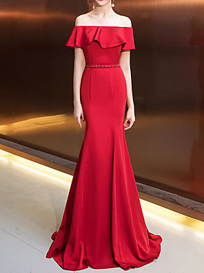 cheap Wedding Veils-Mermaid / Trumpet Sexy Red Engagement Formal Evening Dress Off Shoulder Short Sleeve Sweep / Brush Train Tulle with Pleats Ruffles 2020