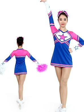cheap Gymnastics-Cheerleader Costume Uniform Women's Girls' Kids Dress Spandex High Elasticity Handmade Long Sleeve Competition Dance Rhythmic Gymnastics Gymnastics Blue