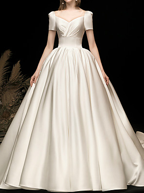 cheap Prom Dresses-Ball Gown Wedding Dresses V Neck Watteau Train Satin Short Sleeve Simple Elegant with 2020
