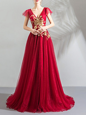 cheap Evening Dresses-A-Line Elegant Red Party Wear Formal Evening Dress V Neck Short Sleeve Sweep / Brush Train Satin with Pleats Appliques 2020