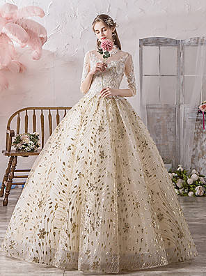 cheap Evening Dresses-Ball Gown Wedding Dresses Off Shoulder Floor Length Lace Tulle Polyester 3/4 Length Sleeve Country Wedding Dress in Color with Lace Appliques 2020 / Illusion Sleeve